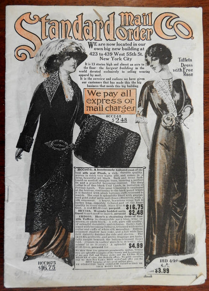 Women's Fashion Catalogue c.1910 Standard Mail Order Company illustrated adverts