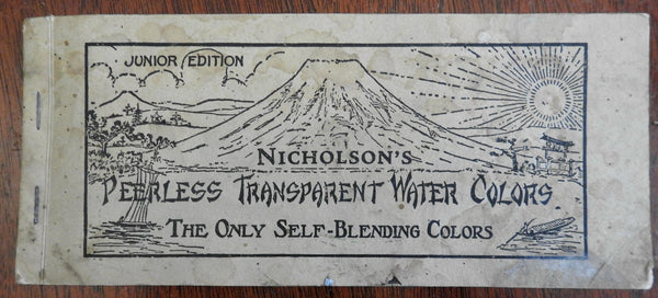 Nicholson's Peerless Transparent Water Colors 1937 pigment leaves booklet artist