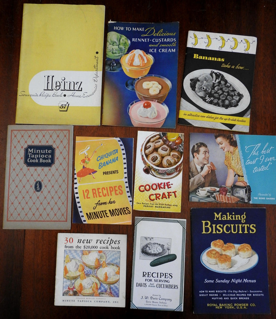 American Recipe Pamphlets Cookies Ice Cream Biscuits pre-WWII- lot of 10 items