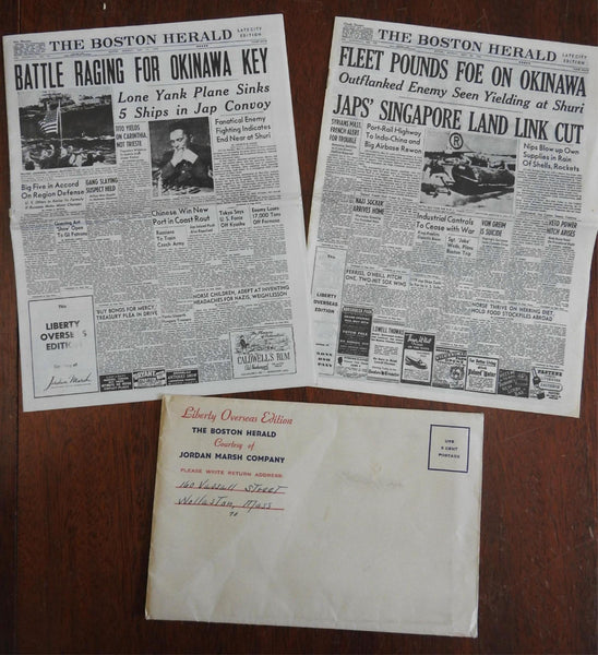 Boston Herald 1945 WWII two mini newspapers Liberty Overseas Edition May 21 & 28
