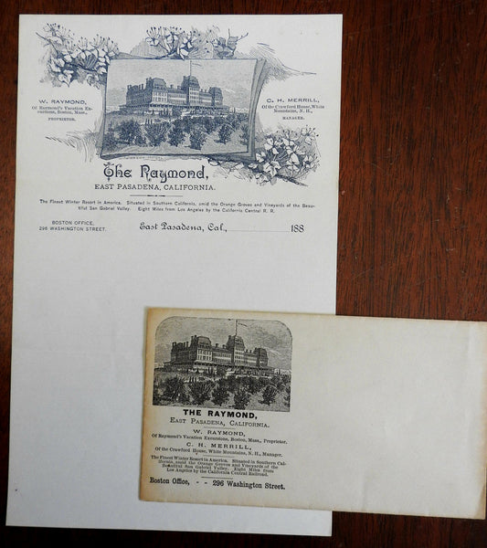 East Pasadena California Raymond Hotel 1880's stationary & envelope