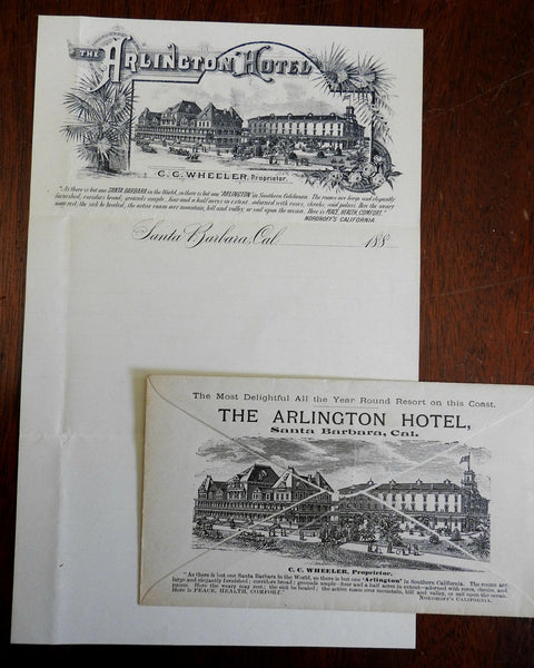 Santa Barbara California Arlington Hotel 1880's promotional envelope stationary