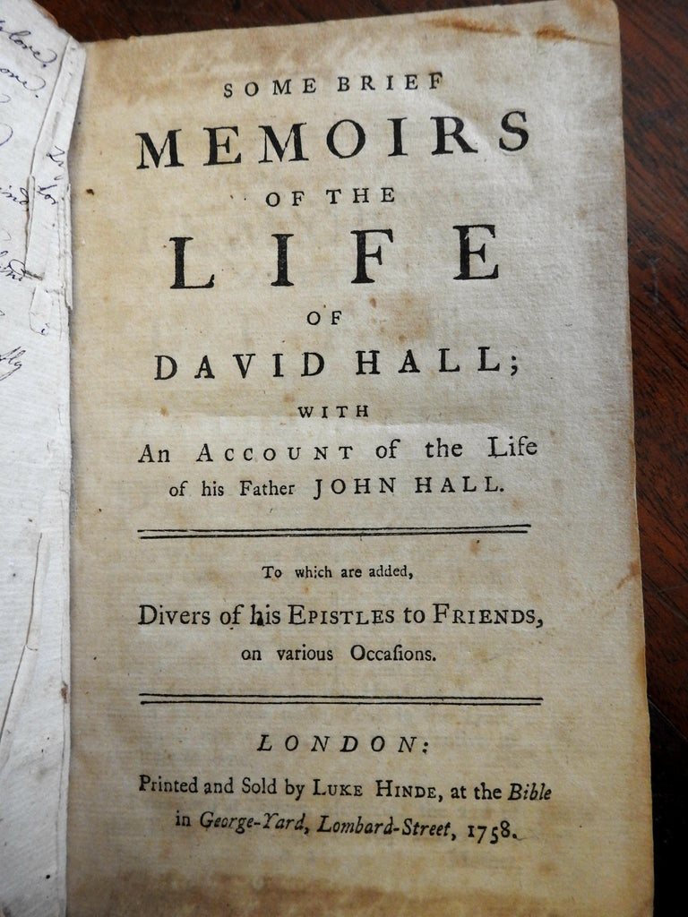 Quakers Memoirs of David Hall 1758 Early American History leather book