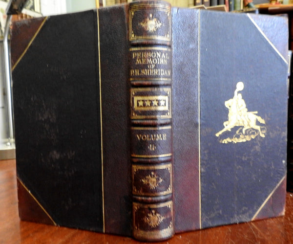 Personal Memoirs of P.H. Sheridan 1888 US Civil War Indian Wars Leather Book