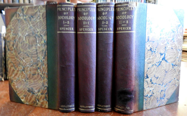 Principles of Sociology Social Darwinism 1897 Herbert Spencer 4 v. leather set