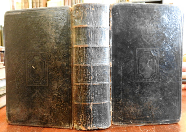 Holy Bible 1853 American Bible Society large leather book Christianity Religion
