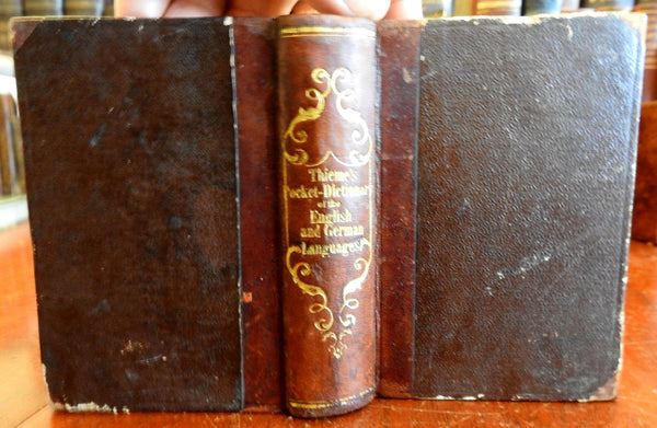 Pocket Dictionary of English and German 1846 F.W. Thieme small leather book