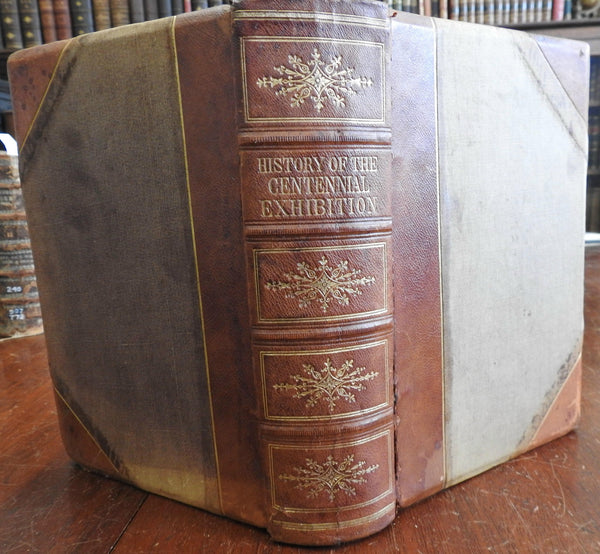 Illustrated History Philadelphia Centennial Exhibition 1876 McCabe leather book