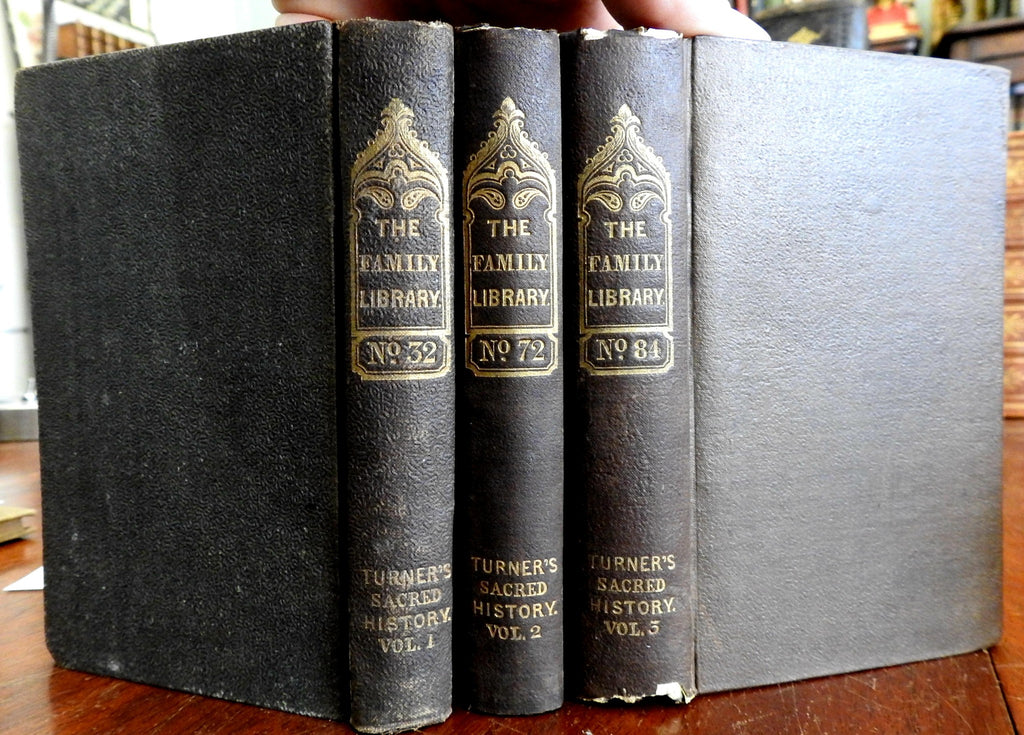 Sacred History of the World 1838-41 Sharon Turner 3 volume set old books