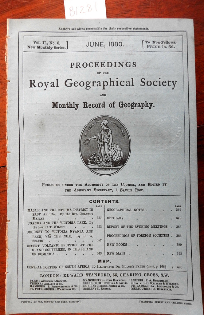 Royal Geographic Society Africa Uganda Lake Victoria 1880 Stanford mag. w/ maps