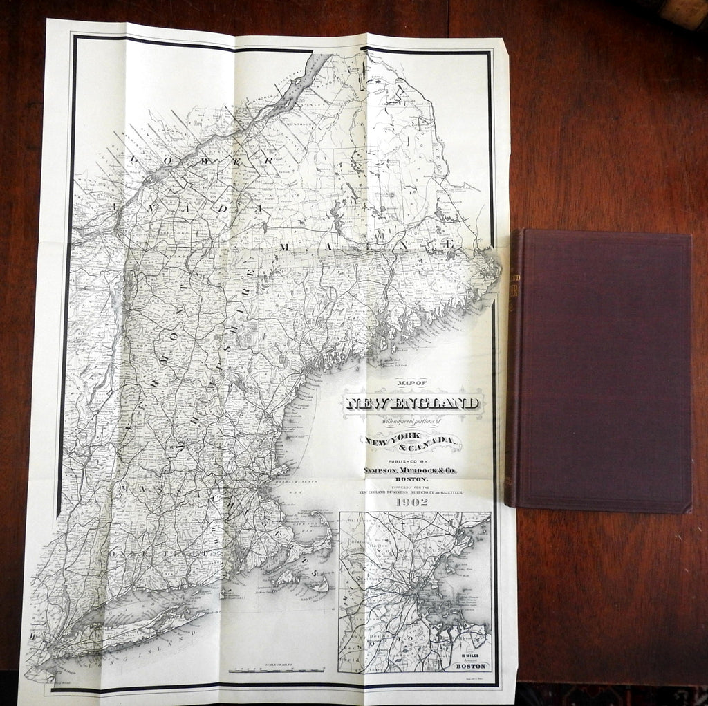 New England Gazetteer w/ lg. map 1902 Americana Vermont New Hampshire Maine Mass
