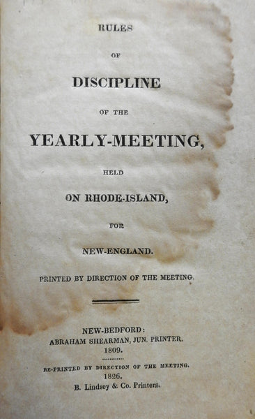 "Rules Discipline Yearly Meeting 1826 American Religious Society Slaves ""Negroes"""