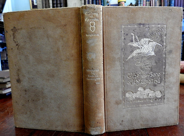 Song of Hiawatha 1906 Henry Wadsworth Longfellow illustrated book suede binding