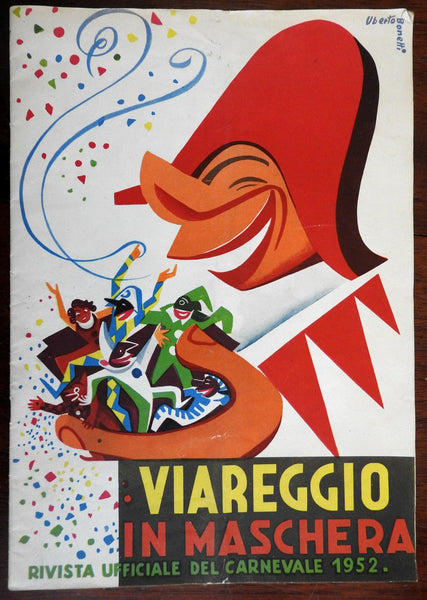 Italy Viareggio Maschere Carnevale program 1952 beautiful cover art period ads