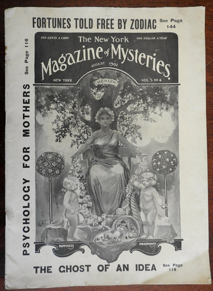 New York Magazine of Mysteries 1902 fortunes mystical cover art period adverts