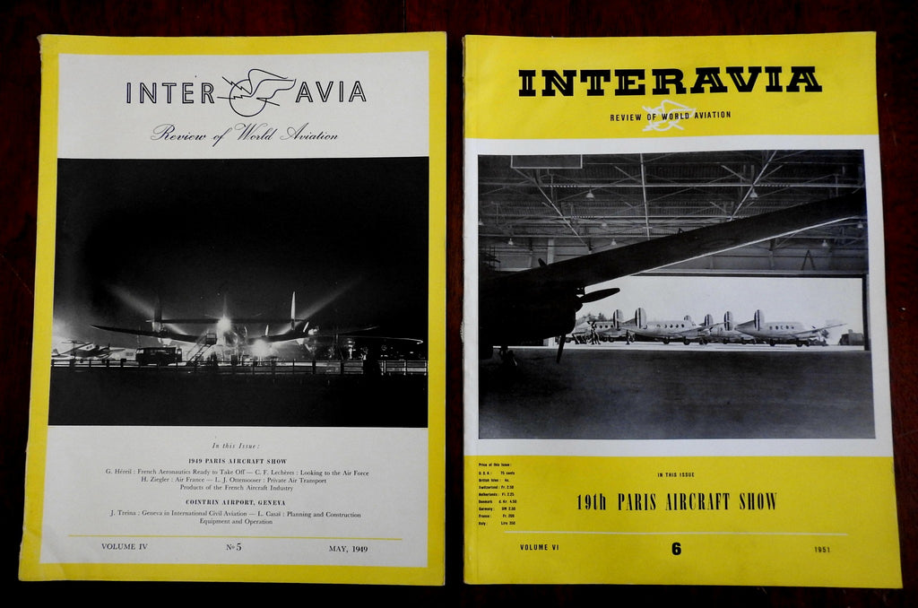 Interavia World Aviation magazines 1949-51 Paris Aircraft Show illustrated lotx2
