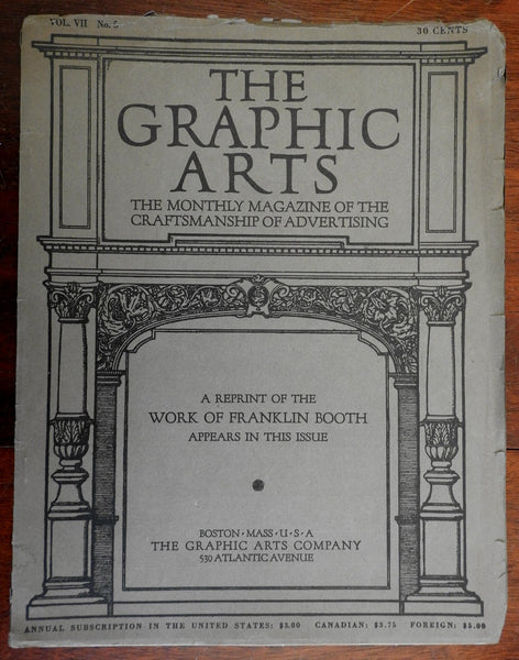 Franklin Booth 1914 Graphic Arts magazine arts design & advertising