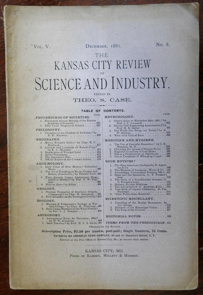 Kansas City Review Science Industry 1881 rare magazine Geology Astronomy zoology