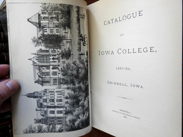 Iowa College catalogue litho view frontis 1883-84 student roll classes clubs