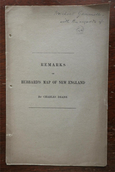 Remarks on Hubbard's Map of New England 1888 Charles Deane American cartography
