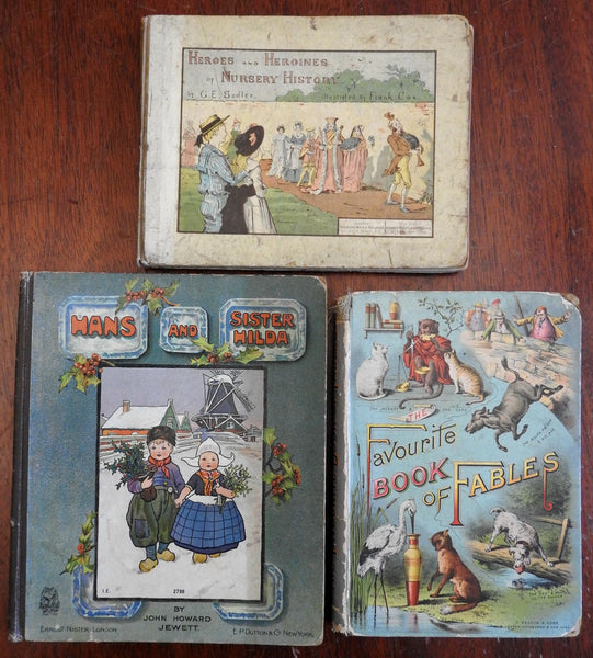 Illustrated Children's Books lot x 3 c.1890-1905 Fables Nursery stories & Dutch
