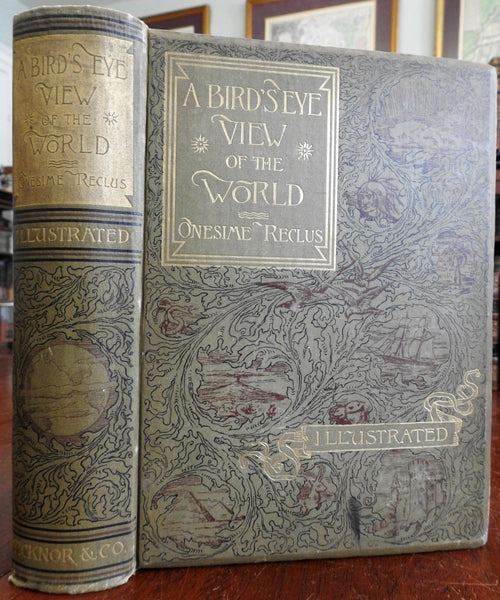 Bird's Eye View of World 1887 Reclus Anthropology Geography World Peoples book