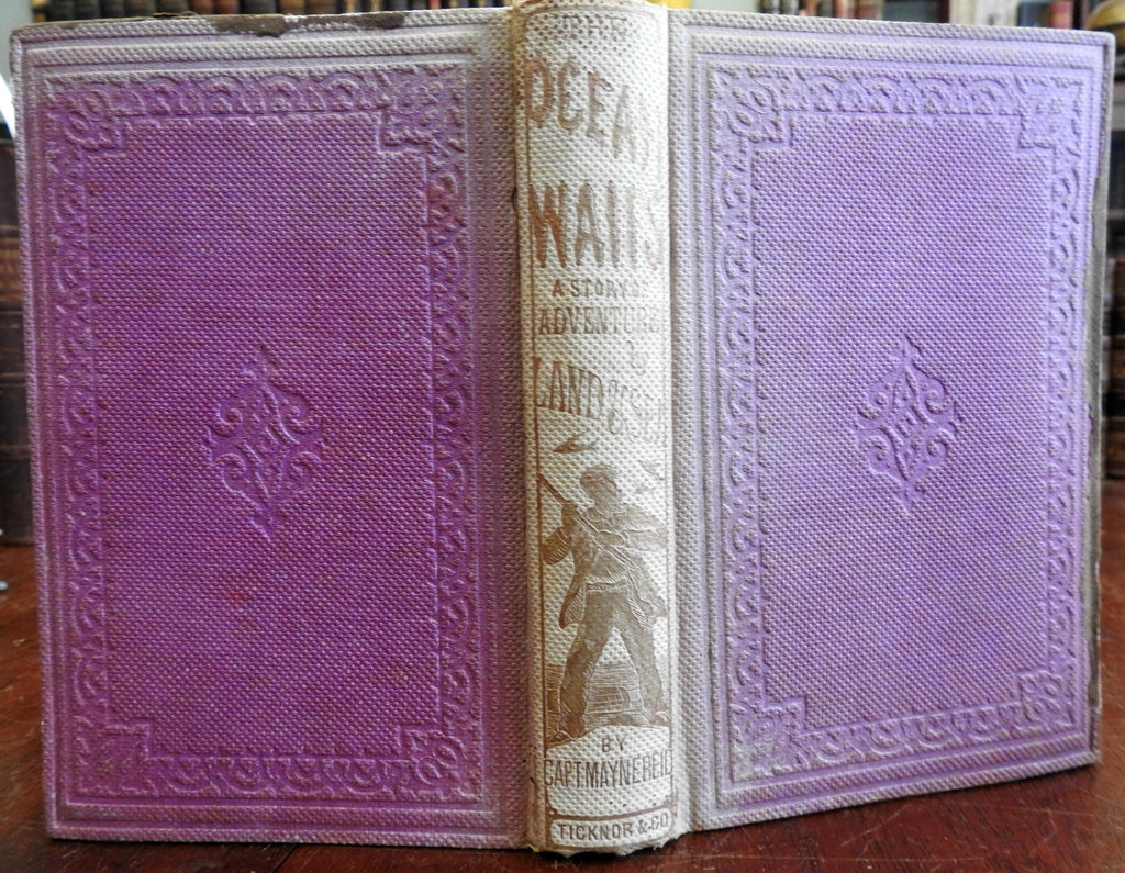 Ocean Waifs A Story of Adventure 1865 Mayne Reid illustrated sea faring book
