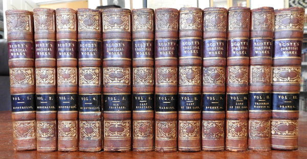 Sir Walter Scott Poetical Works 1833 fine 12 volume leather set old books
