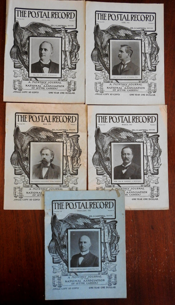 Postal Record 1903 Mail carrier trade Magazines US Postal Service Lot x 5 issues
