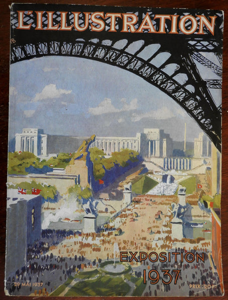 Paris Exposition L'Illustration mag w/ pictorial map 1937 illustrated wonderful