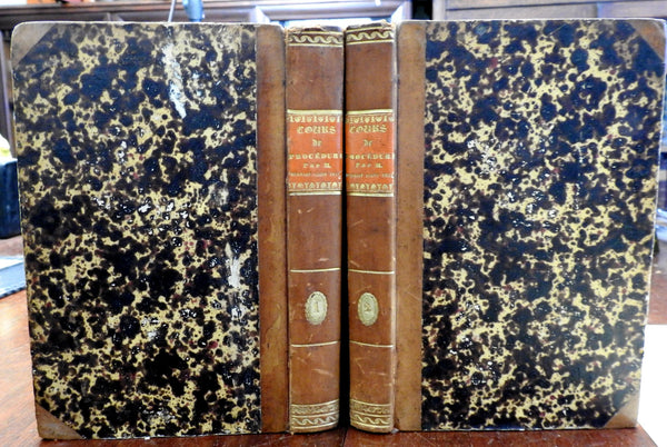 Cours de Procedure Civile 1813 Napoleonic Law Books nice antiquarian leather set