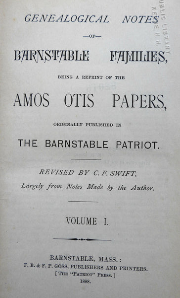 Barnstable Families Genealogical Notes 1888 C.F. Swift Massachusetts history