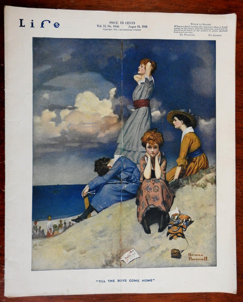 Norman Rockwell cover art 1918 Life Magazine Beach Scene Waiting for Soldiers