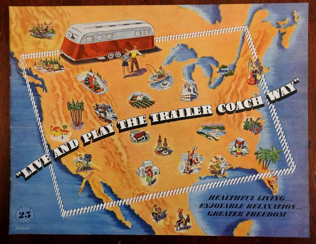 Live & Play the Trailer Coach Way 1949 Advertising Booklet Trailer Parks Cars