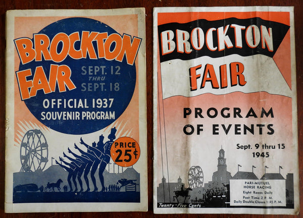 Brockton Massachusetts Fair Souvenir Programs 1937 & 1945 illustrated 2 booklets