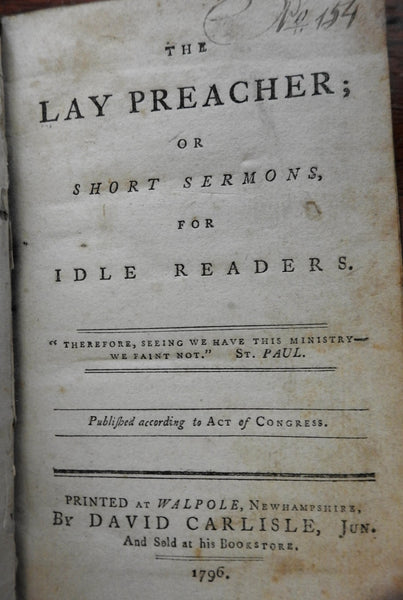 Lay Preacher Sermons for Idle Readers 1796 Walpole NH American rare leather book