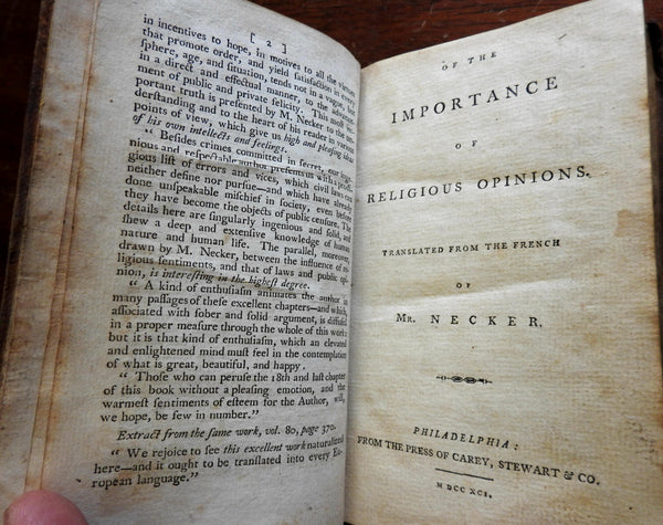 Of the Importance of Religious Opinions by Necker 1791 rare Carey Phila. imprint