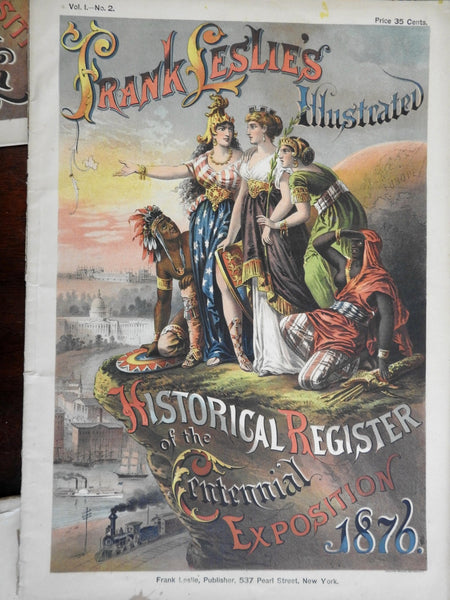 Philadelphia Centennial Exhibition 1876 Columbia Indians color covers Lot x 10