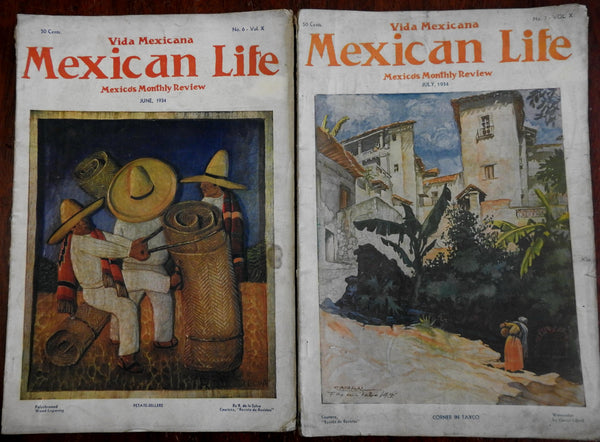 Mexican Life Magazine 1934 de la Selva & Cabral covers Petate Sellers lot x 2