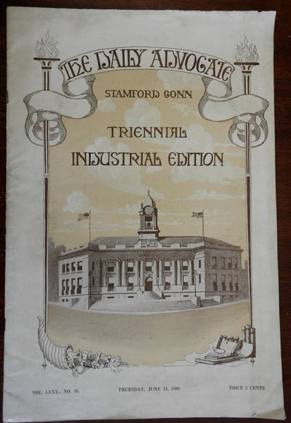 Stamford Connecticut 1909 Souvenir Daily Advocate Triennial Promo w/ advertising