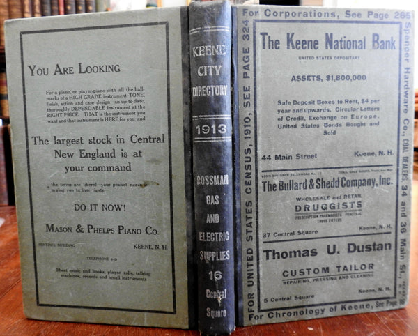 Keene New Hampshire City & Business Directory 1913 period advertisements