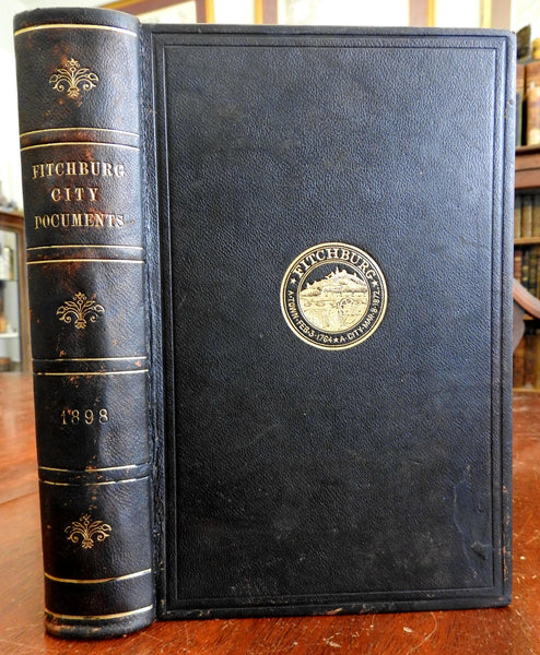 Fitchburg Massachusetts Mayor's Address Annual Reports 1899 leather book history