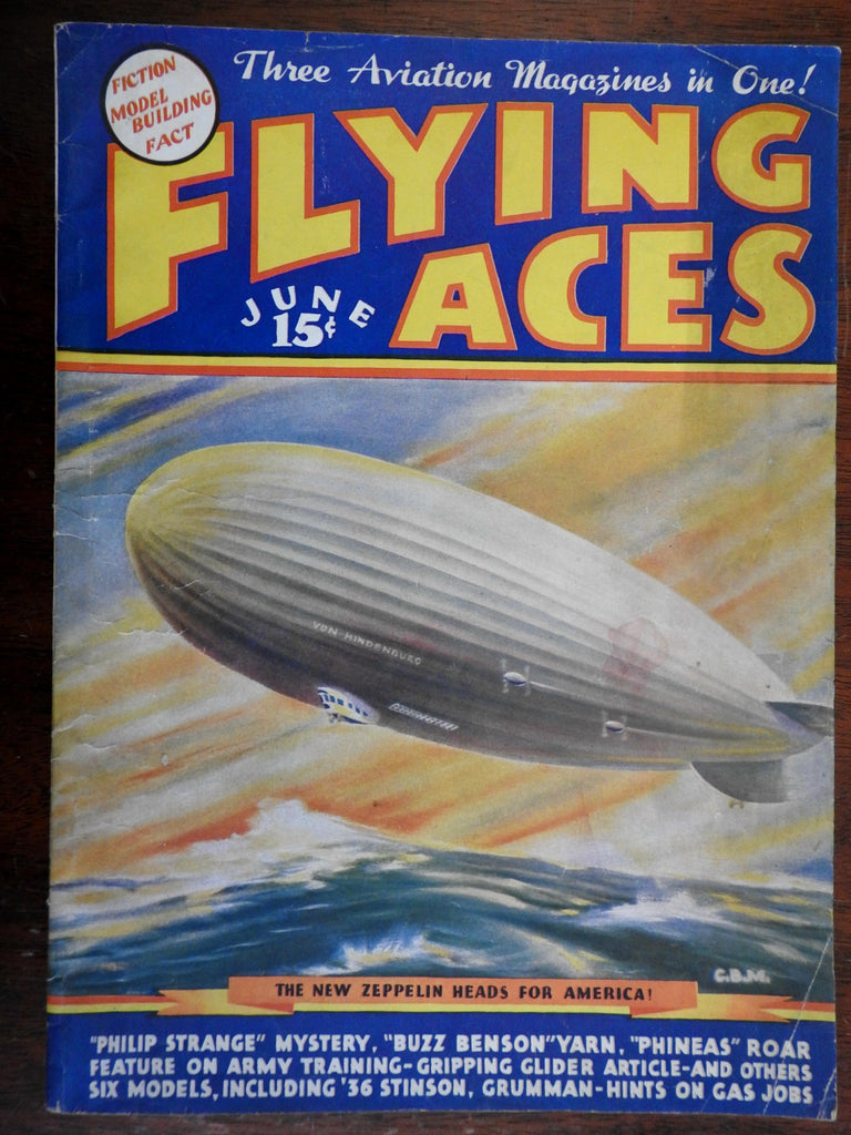 Hindenburg Zeppelin Flying Aces Magazine 1936 rare pre-disaster model airplanes