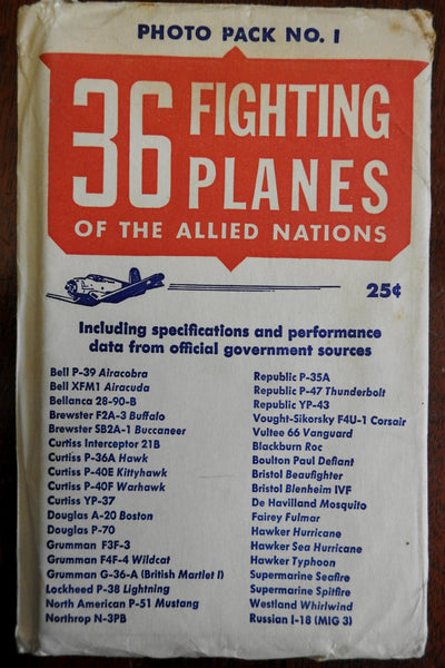 36 Fighting Planes of Allied Nations c.1943 WWII era post-card style collection