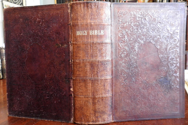 Holy Bible Old & New Testaments 1860 Civil War Era large leather bound bible