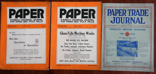 Paper Trade Journals 1918-1929 trade lot x3 magazines paper industry milling