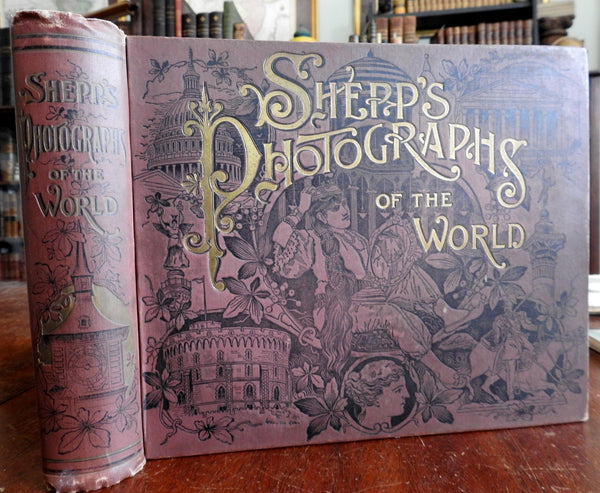 Shepps' World Photographs 1891 monumental rare illustrated photo book