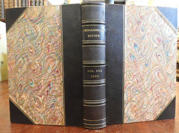 World Geographical Review 1940 rare fine leather book AGS of NY Hawaii Singapore