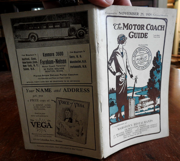 Motor Coach Guide Boston 1926 New England Bus Routes Massachusetts New Hampshire