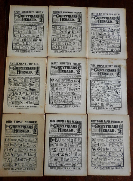 Greyfriars Herald juvenile mag. S Holmes 1915-16 lot 1-9 issues Rebus puzzles